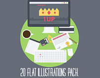 20 Flat Illustrations Pack. Just Buy