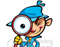Cartoon cute detective