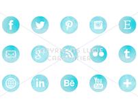 Watercolour social media icons set