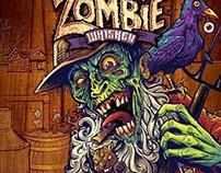 Zombie Whiskey bottle label design