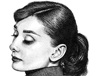 Audrey Hepburn Stippling Drawing