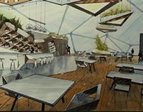 Interior organic cafe