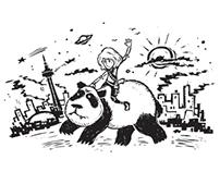Riding a panda thru the streets of Toronto.