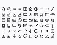 Thin Round & Straight Icon Set