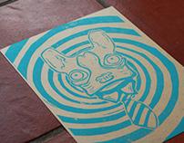Hypno Dog (blue) - Block Print