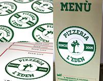 "Menù, stickers & beer list of the Pizzeria ""L'Eden"""
