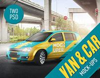 Van & Car Mock-Up (2 PSD)