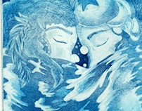 """""""Lovers in the Sea"""" Etching"""