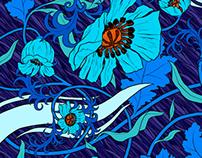 Unamono silk scarves, Edition 9- The Poppy Field