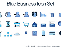 Set of 24 Blue Business Icons