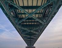 "A bundle of views at the ""Rheinbrücke Uerdingen"""