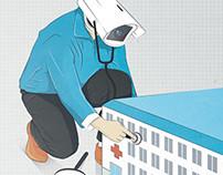 Monitoring hospitals /// Editorial illustration
