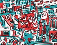 Barcelona brush poster map
