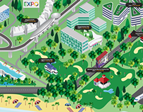 Keppel Land Interactive Screen Illustration
