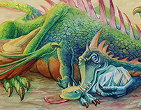 Sleepy Dragon Watercolor