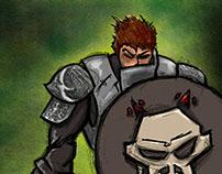 Warrior with skull shield