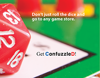 Brochure for Confuzzled, a games and puzzles store