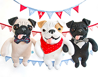 Smiling Dogs, soft art toys