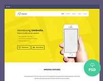 Freebie – Umbrella – Ultimate App Landing Page PSD Temp