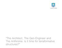 The Architect, The Geo-Engineer and The Anthrome