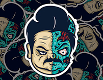 Ron Swanson Zombie Two Face
