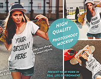 Girl photoshoot t-shirt mockup