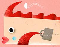 "Full double page illustration ""Almanaque Saraiva"""