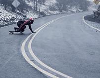 Longboarding in the snow