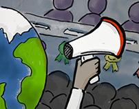 Climate hustings illustration