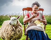 Andrea Knitting from her Sheep