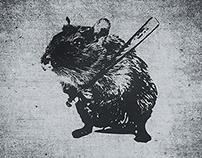 Angry street art mouse / hamster (baseball edit)