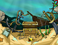 2D Game art design. Pirate Game. Canceled project.