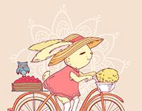Rabbit riding a bike