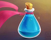 Magic flask with blue potion