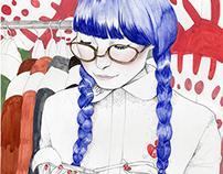 Japanese fashion model illustration