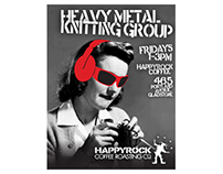 Heavy Metal Knitting poster for Happyrock Coffee Co.