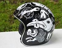 Black helmet painting