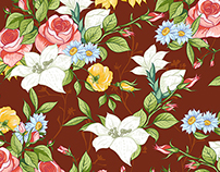 Seamless Pattern with Wildflowers and Roses