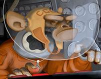 Monkey in space - Banner Illustration