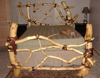 Log and Rawhide Bed Frame
