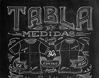 Chalkboard style size chart for 30/1