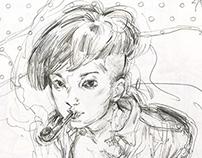 Girl sketches