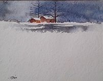 Snow watercolour