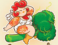 Chicken Broccoli magazine illustrations