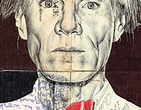 'ANDY' bic biro drawing on a collection of vintage post
