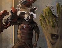 Rocket & Groot - Digital Illustration
