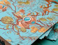 Illustrated cards: botanical diver
