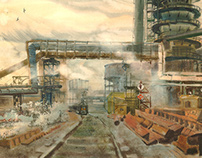 Cherepovets Steel Mill. Watercolor.