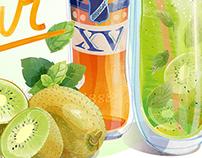 // Cocktail Recipes // Brugal XV vector illustrations