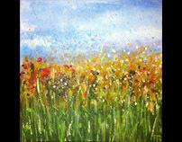 "Wild Flowers, 8x8"" acrylic on canvas, 2011."